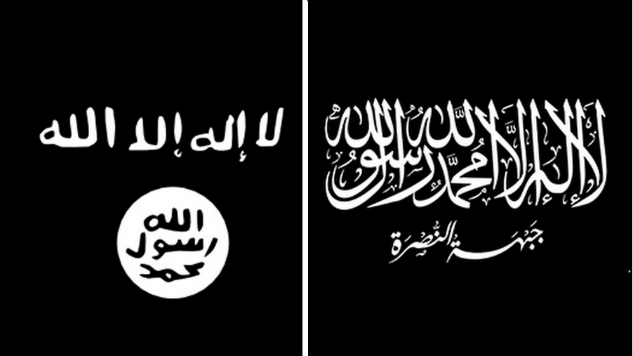 ISIS flag (left), AlQaeda flag (right)