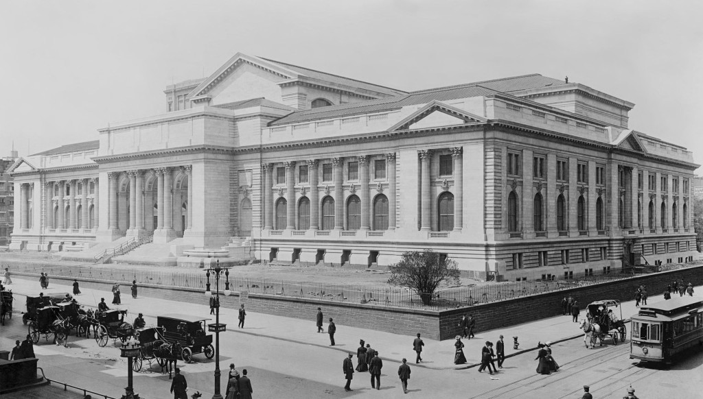 The New York Public Library, glass negative from 1908 depicting horse carriages and trolleys. Late stage construction.
